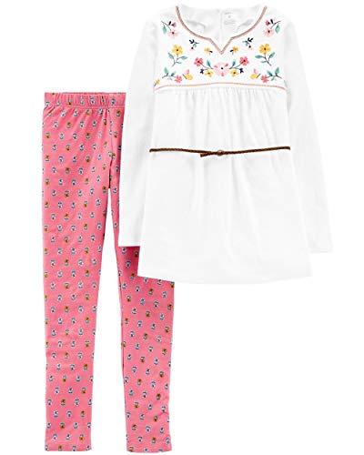 (Carter's Girls' 2-Piece Top & Legging Set (4/5, Embroidered Tunic/Floral Legging))