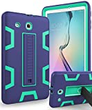TIANLI Samsung Galaxy Tab E 9.6 Case Anti-Scratch Shockproof Three Layer Full Body Armor Protection with Sturdy Kickstand Anti-Fingerprint,Navy Blue Mint