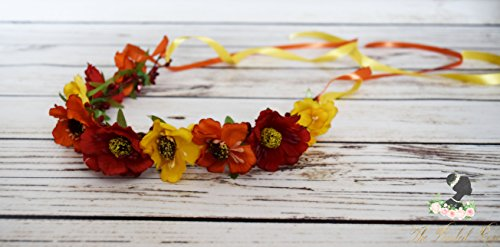 Handcrafted Red Yellow and Orange Flower Crown - Fall Flower Wreath - Wildflower Crown - Adult Flower Crown - Fall Wedding Accessory - Bows