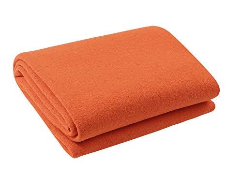 (PuTian Virgin CrueltyFree Utpala Australian Merino Wool Blanket,Thermal,Win.FAL,Orange,55by70in)