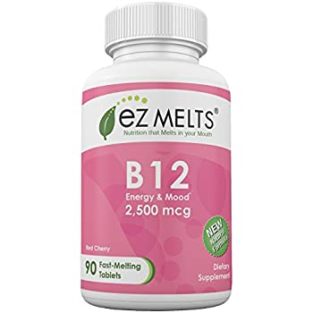 EZ Melts B12, 2,500 mcg, Dissolvable Vitamins, Vegan, Zero Sugar, Natural Cherry Flavor, 90 Fast Melting Tablets, Vitamin B12 Supplement