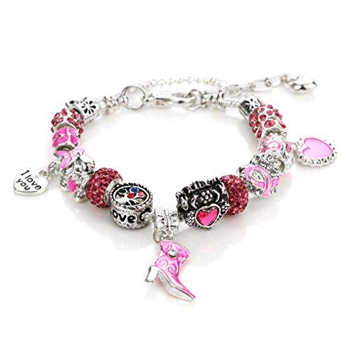 NOVADAB Pink Ribbon Breast Cancer Awareness Charms Bracelet, Silver Tone 'I Love You' Bead Bracelet (1)