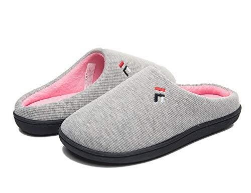FOOTTECH Mens Memory Foam House Slippers Cozy Soft Home Shoes Anti Skid Indoor Outdoor Slip On Slipper (Women|US7-8, Women-Light Grey)