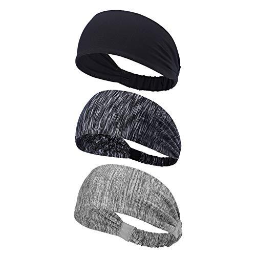 Beauty7 3 Pack Men Women Wide Sweatbands Headbands Bandana Stretch Moisture Wicking Sports Yoga Running Cycling Crossfit Workout Tennis Black/Striped Gray/Light Gray