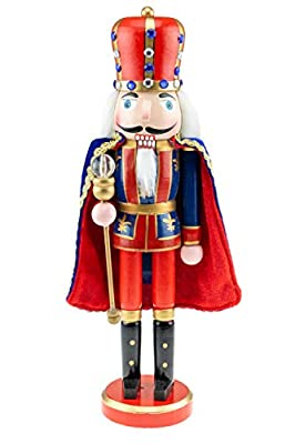 """Clever Creations - Traditional Blue King Nutcracker with Scepter - Collectible Wooden Christmas Festive Holiday Decor - 100% Wood - 14"""" Tall"""