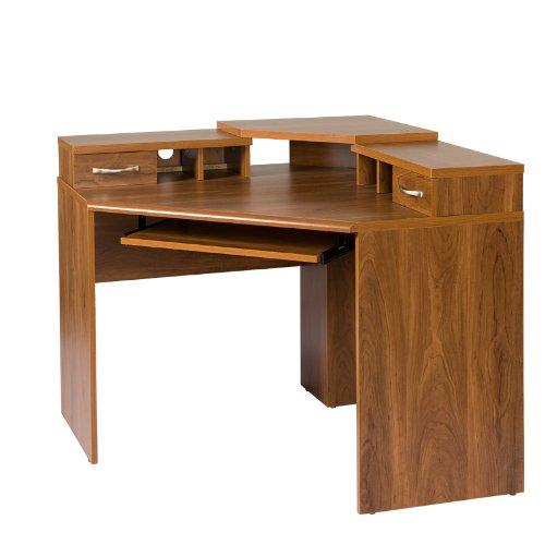 OS Home and Office Furniture OSHOM Model Monitor Platform, Keyboard Shelf, 2 Box 1 File Drawer Corner Computer Work Center, Autumn Oak Laminate