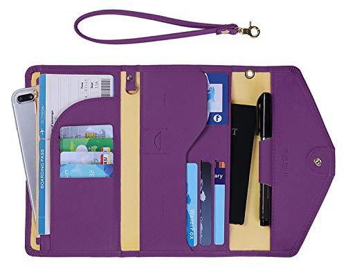 Zoppen Passport Holder for Women Travel Wallet Rfid Blocking Passport Cover Document Organizer Wristlet Strap Ver.5 (#19 aubergine purple Ver.5)