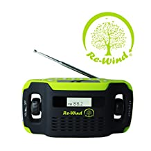 NEW Re-Wind Wind-Up Solar Powered Rechargeable Portable AM/FM Radio with built-in LED Torch and USB Charging Port (Cable Included) - No Batteries Required - LCD Display, Alarm Clock, Headphone Socket - 2 Years Warranty Included