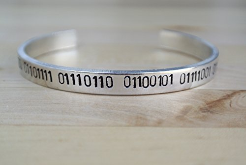 I Love You Hand Stamped Binary Code Cuff Bracelet