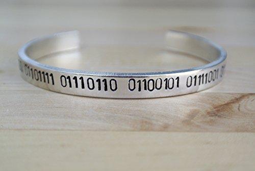 I Love You Hand Stamped Binary Code Cuff Bracelet