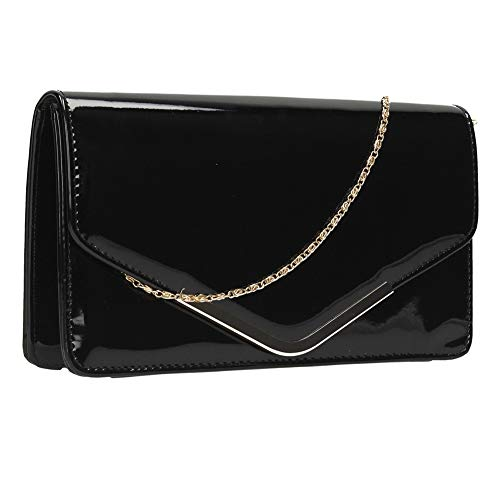 Bag Patent Prom Ladies Smart Leather Bag Women Party Envelope Evening Black Clutch Hx8qTRO7