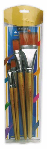 Sargent Art 56-3015 Assorted Jumbo Brushes with Wooden Handles, 4 Count ()
