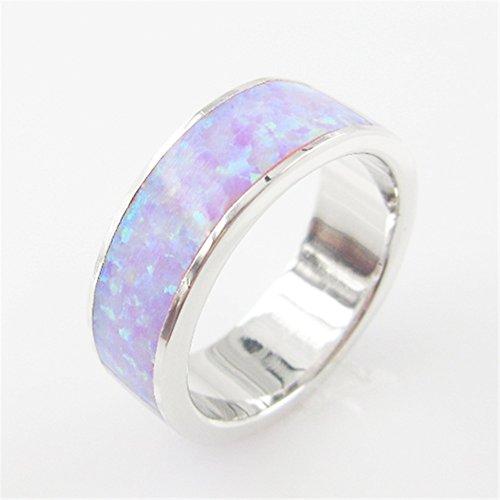 Sinlifu® Sterling Silver Round Band Fire White Yellow Pink Purple Opal Ring Jewelry (7, Purple)