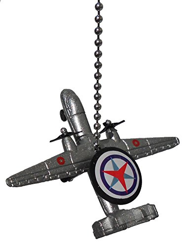 Airplane Ceiling Fan Pull (US military airplane Fighter jet air plane Ceiling FAN PULL light chain (silver Boeing E-3 Sentry AWACS recon spy)
