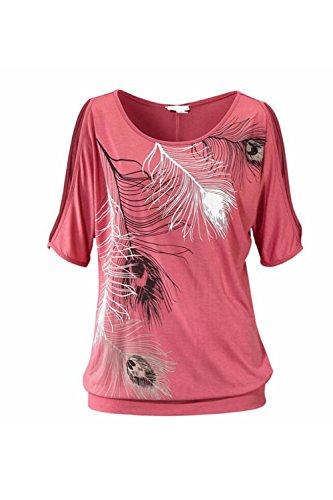 Blusa de las mujeres de hombro manga corta pluma tapas impresión suéter camiseta Pink