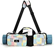 Yoga Mat Bag,Yoga Carry Canvas Bag with Pockets Foldable Roll Pack Shoulder Bag Multifunctional Waterproof Yog