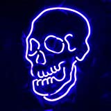 LiQi Skull Neon Sign (14'' x 11''Large)Real Glass Acrylic Panel Handmade for Home Bedroom Pub Hotel Beach Recreational Game Room Decor