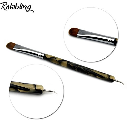 Rolabling 2-Way Professional French Nail Art Brush Dotting Pen 100% Kolinsky Sable Brush for Acrylic UV Gel Nail Art Design Dotting Brush Tool