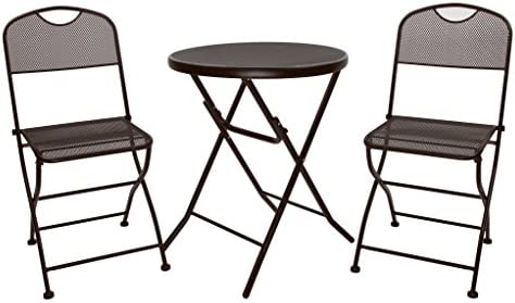 Finnhomy Mesh 3 Piece Folding Outdoor Patio Furniture Set Rust Proof Metal Outdoor Bistro Table Chair for Garden Backyard Pool Side Balcony Espresso