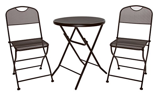 Finnhomy Folding Mesh 3 Piece Bistro Set Outdoor Patio Furniture Set Outdoor Bistro Table Chair Rust Proof Metal Material, Espresso by Finnhomy