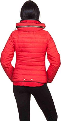 donna donna donna collezione collo trapuntata invernale nbsp;foderata Giacca Giacca Giacca da cappuccio inverno alto con Loomiloo Rot 2016 qAvZtnwA
