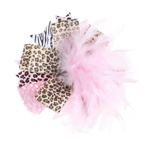 Donc beauté Baby-filles nouveau-né rose plume d'autruche Bandeau Leopard Hairband