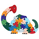 DD Wooden Jigsaw Puzzles Winding Dinosaur Toys for Preschool Letter & Numbers Puzzles Educational Toys For Toddlers /Kids/ Children /Boys/ Girls (3 4 5 Year Old and Up)