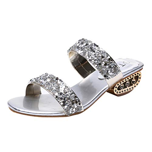 (Tantisy ♣↭♣ Women's Sequins Rhinestone Fashion Slippers/Low Heel 3cm/1.1