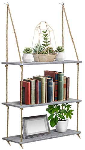 (Sorbus Wood Hanging Shelf 3-Tier Rustic Wood Swing Storage Shelves Jute Rope Organizer Rack, Floating Display Shelves (Grey))