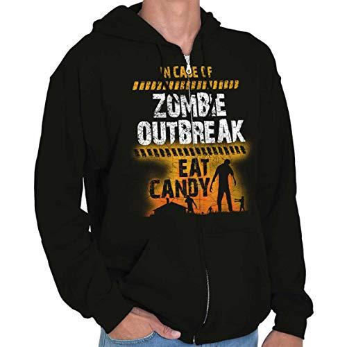 in Case Zombie Outbreak Eat Candy Halloween Zip Hoodie Black -