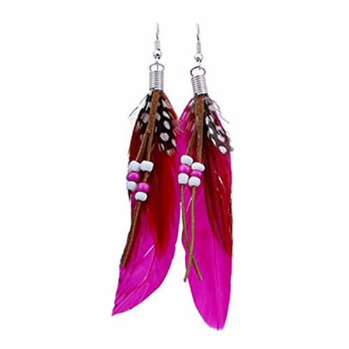 - Owill Women Girls Bohemia Feather Shape Beads Long Dream Catcher Earrings For Your Charming Life (Hot Pink)