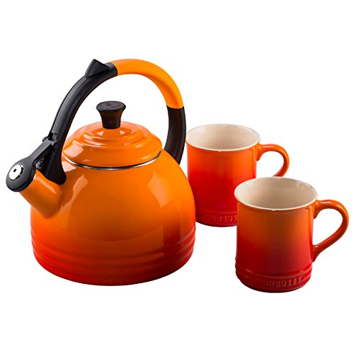 Le Creuset Enamel-On-Steel Kettle and Mug Gift Set, Flame by Le Creuset