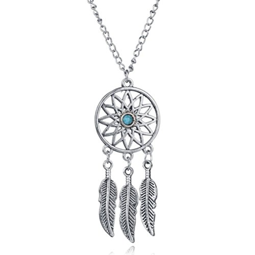 Inspirational Jewelry Bohemian Tassel Feather Wing Dream Catcher Turquoise Beads Pendant Necklace with Free 15 Inches (Sliver) -