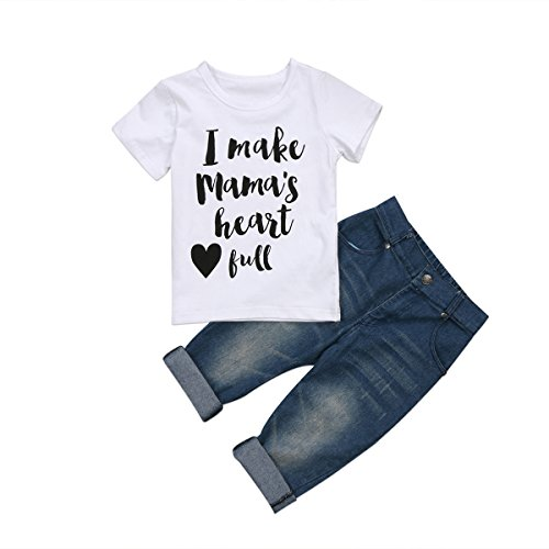 Emmababy Newborn Baby Boy Clothing 3PCS Outfits Set T Shirt Tops Letter Print and Long Denim Pants Leggings (White, 5T)