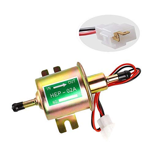 Electric Fuel Pump Inline Low Pressure Gas Diesel Fuel Pump Universal 12V Fuel Pump 2.5-4 PSI for Carburetor Engine HEP-02A