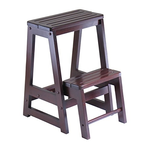 Winsome Home Indoor Living Room Double Step Stool | Finished in an Antique Walnut Hue For an Elegant Look | 18.5 L x 15 W x 21.5 H