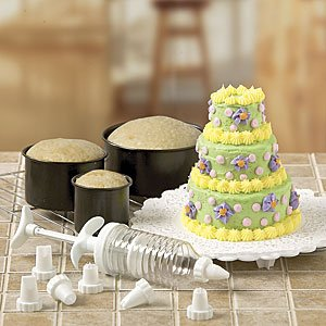 6PC MINI-TIERED CAKE PAN SET WITH DECORATING ACCESSORIES (TOTAL 14PC. - Three Tier Mini Cake Pan