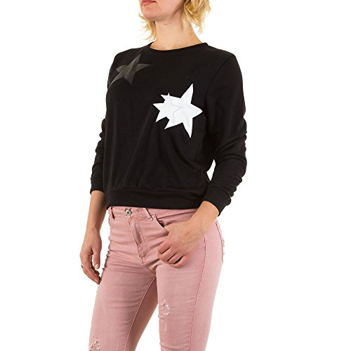 Applikationen Sweatshirt Für Damen , Schwarz In Gr. M bei Ital-Design