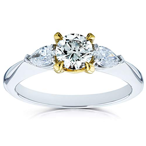 - Light Fancy Yellow Mixed Diamond 3 Stone Pinched Shank Engagement Ring 7/8ct TDW 14k Gold Ring, 5.5
