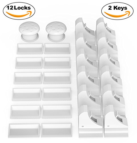 Baby & Child Proof Cabinet & Drawers Magnetic Safety Locks Set of 12 with 2 Keys By Eco-Baby - Heavy Duty Locking System with 3M Adhesive Tape Easy To Install Without Damaging Your Furniture
