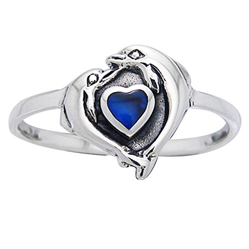 Dolphin Paua Shell - Petite Dolphin Heart Ring Sterling Silver and Paua Shell Size 8(Sizes 3,4,5,6,7,8,9,10,11,12,13,14)