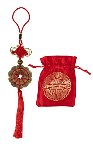 Chinese Feng Shui Coin - Chinese Knot, Feng Shui Lucky Coin with Red Ribbon and Bag, Chinese Fortune Coin, for Wealth and Success, Traditional Chinese New Year Decoration, 12 Coins, -
