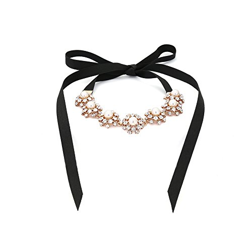 Teniu Fashion Pearls Necklace Short Ribbon Necklace Collar Choker Necklace Jewelry for Women Necklace (Organza Ribbon Necklace)