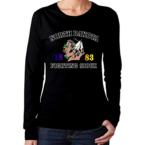 - IoDSICYSB8Q North Dakota Fighting Sioux Logo O-Neck Comfortable Long Sleeves for Womens and Girls Black M