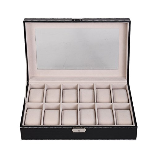 Watch Box Luxury Case Display for Men 12 Slot Leather Organizer Glass Top Jewelry Storage (Engraved Cherry Wood Humidor)