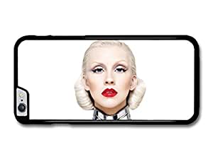 "AMAF ? Accessories Christina Aguilera Red Lipstick White Background Portrait case for iPhone 6 Plus (5.5"")"