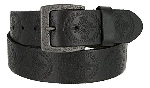 (Jessie's Vintage Western Casual Full Grain Leather Jean Belt (Black, 32))
