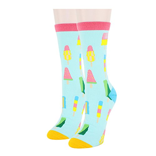 Women Funny Popsicle Cool Cotton Casual Socks - Ladies Moisture Free Pique