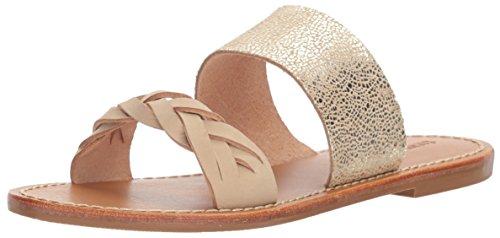 Soludos Women's Metallic Braided Slide Flat Sandal, Nude/Pale Gold, 7.5 B US Braided Slide