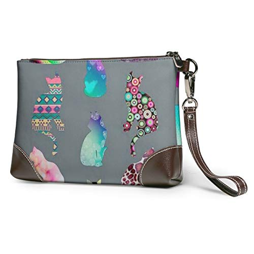 Cats Women Portable Soft Genuine Leather Clutch Wristlet Small Bag Large Wallet